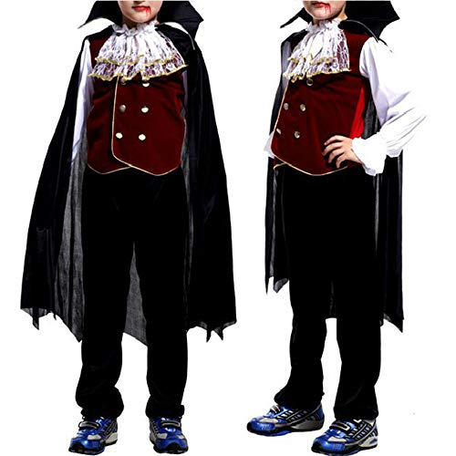 JIKF-shirt Toddler Vampire Fancy Dress Halloween Costumes for Kids Party Cosplay Clothing Black Red M ()