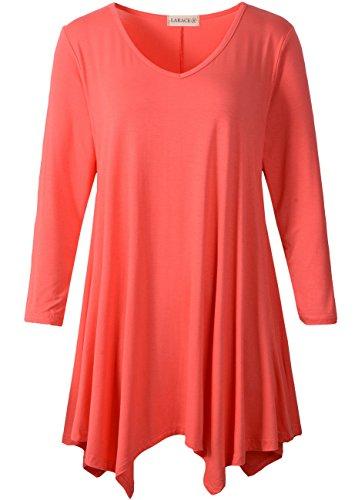 LARACE Womens V-Neck Plain Swing Tunic Top Casual T Shirt(2X, Watermelon) ()