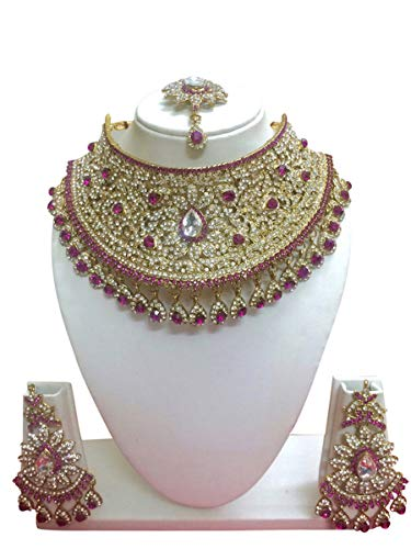(CROWN JEWEL Indian Bollywood Style Fashion Gold Plated Bridal Jewelry Necklace Earring Set for Women (Pink))