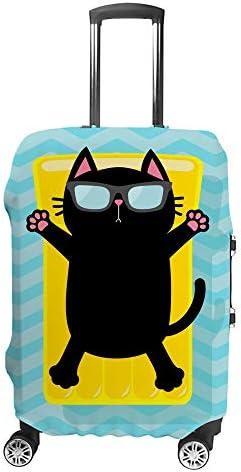 スーツケースカバー トラベルケース 荷物カバー 弾性素材 傷を防ぐ ほこりや汚れを防ぐ 個性 出張 男性と女性水の中を楽しむ黒猫