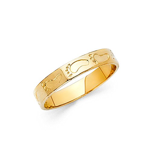 Ladies 14K Solid Yellow Gold Footprints Fancy Ring, Size 4.5