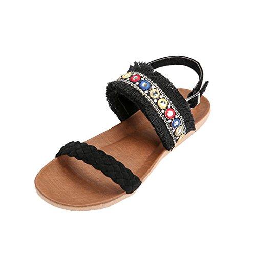 IGEMY Women Sandals, Women Bohemia Fringed Woven Belt Anti Skidding Beach Shoes Peep-Toe Sandals Black