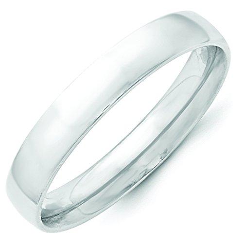 14K White Gold 4mm Lightweight Half Round Domed Comfort Fit Wedding Band - Size 10.5 (White Lightweight Ring)