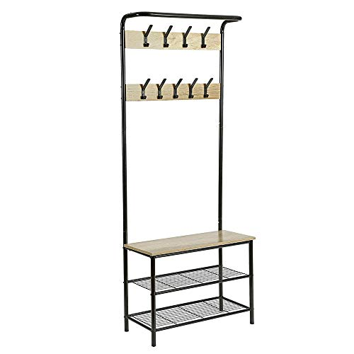 - Home-Like Hall Tree with Bench, Entryway Bench with Coat Rack ,Coat Rack with 9 Hangers and 3-Tier Shoe Bench, Metal Storage Shelf for Living Room, Bedroom