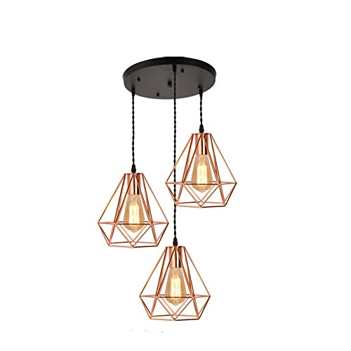 EFINEHOME Vintage Industrial Rose Gold Metal Pyramid Cage Shade Multi Pendant Lighting Fixture-3 Lights Rustic Island Chandelier E26 Bulb Sockets 120W