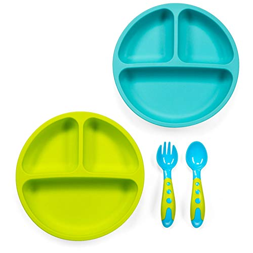 Sperric Silicone Divided Plates Unbreakable Non-Slip – Silicone Baby and Toddler Plates 2 Pack. Dishwasher/Microwave…