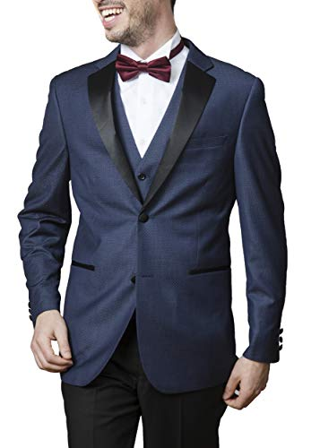 Caravelli Men's Slim Fit T62512U3-Piece Notch Lapel Formal Tuxedo Suit Set -Navy - 40 Long]()