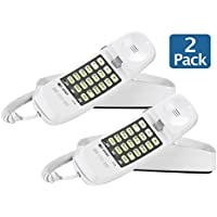 AT&T 210M Trimline Corded Phone, White- 2 Pack