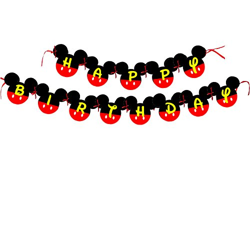 Amazon.com: Mickey Mouse Birthday Banner | Mickey mouse Birthday ...