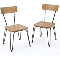 Owen Light Wood and Black Metal Frame Chairs (Set of 2)