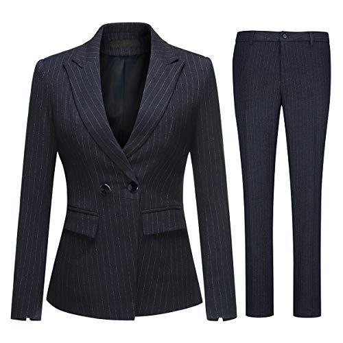 Women's Two Piece Office Lady Stripes Business Suit Set Slim Fit Blazer Jacket Pant (Womens Washable Business Suits)