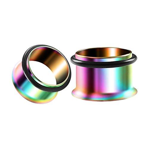 Flared Single (BIG GAUGES Pair Rainbow Anodized 9/16 inch Gauge 14mm Single Flared Piercing Jewelry Earring Stretcher Plug O-Ring Tunnel Lobe BG1273)