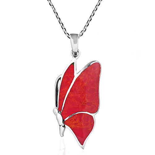 Flying Monarch Butterfly Reconstructed Red Coral .925 Sterling Silver Pendant Necklace