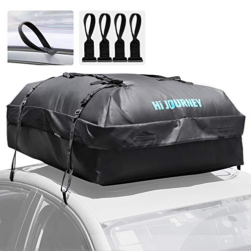 (Rabbitgoo Rooftop Cargo Carrier Waterproof Car Roof Top Cargo Bag with Heavy Duty Straps, Soft Shell Luggage Storage Bag for Vehicles with/Without Roof Racks, Large Capacity 15 Cubic Feet)