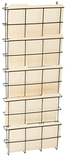 Displays2go Set of 4 - Office Wall Folder File Organizer, 5 Tiers, Holds Legal Size, 3 Inch Pockets, Steel - Set Pocket Four Hanger