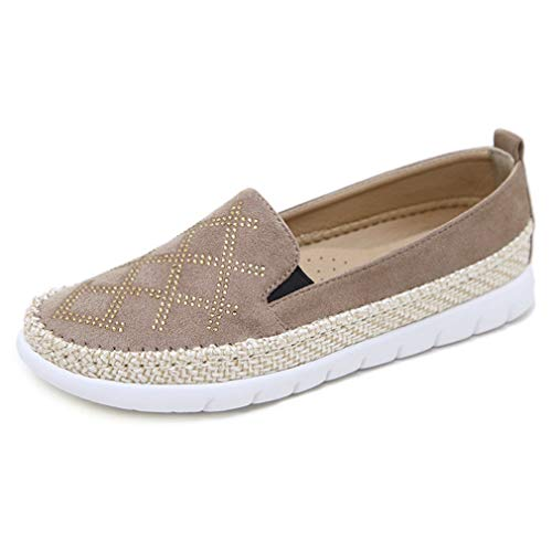 Loafers Flats Beaded Shoes - CYBLING Womens Espadrilles Casual Flats Comfortable Suede Braided Bottom Slip On Loafer Shoes Apricot