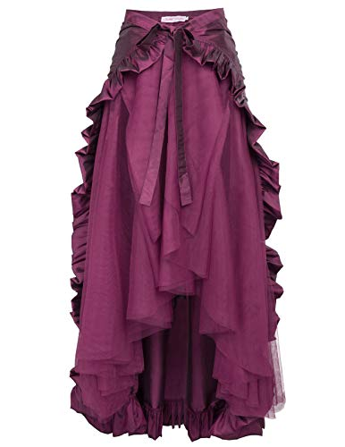 Steampunk Skirt for Women Victorian Bustle Skirt/Cape Pirate Costume 2XL Purple