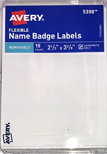 (Avery 5398 Removable Name Badge Labels, 2 1/3