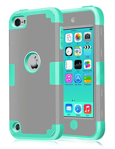 TOPSKY(TM) [Robot Series] Hybrid High Impact Shockproof Defender Case For iPod Touch 5th Generation/iPod Touch 6th Generation,With Screen Protector,Stylus and Cleaning Cloth, (Grey/Aqua Mint)