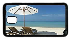 The Beach Chairs and Umbrellas DIY Rubber Black Best Designed Samsung Galaxy Note 3 N9000 Case