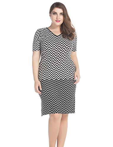 Chicwe Women's V Neck Short Sleeves Border Printed Plus Size Dress 14, Black