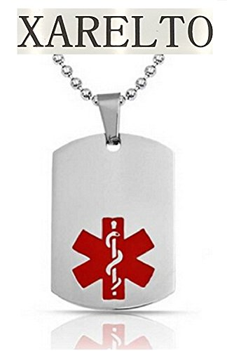 Xarelto Medical Alert Engraved Dog Tag With 22 Chain   All Stainless Steel