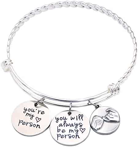 O.RIYA Best Friend Gift - Best Friend Bracelet - You're My Person Bracelet - Sister Gift - Pinky Promise Charm Bracelet - Best Friend Birthday Gift