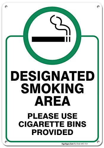 Designated Smoking Area Sign, Use Cigarette Bins Sign, 10x14 Rust Free .040 Aluminum UV Printed, Easy to Mount Weather Resistant Long Lasting Ink Made in USA by SIGO SIGNS