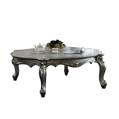 Benjara BM196694 Oval Shaped Wooden Coffee Table with Cabriole Leg Support, Silver
