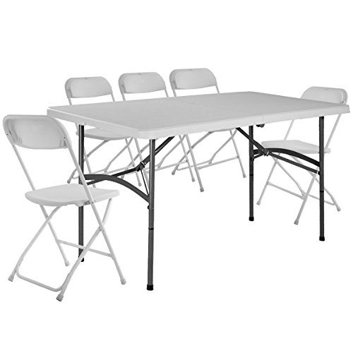 Giantex 5'' Plastic Folding Table and Chair Set Picnic Party Dining Camp Indoor Outdoor by Giantex