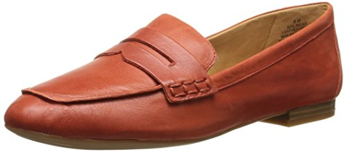 Nine West Women's Linear Leather Penny Loafer,Orange,11 M US