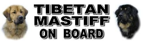 Tibetan Mastiff on Board Car Window Sticker