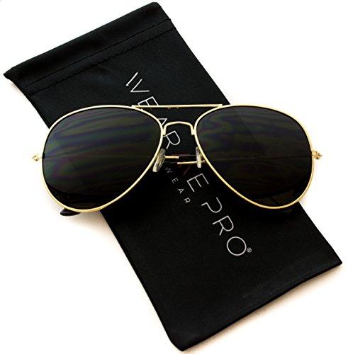 WearMe Pro - Classic Cop Metal Standard Aviator Sunglasses - Dark - Glasses Sun Cop
