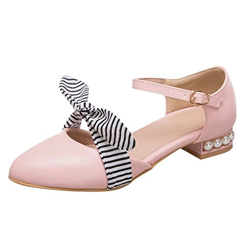 Carolbar Women's Sweet Bow Beaded Low Heel Ankle Strap Court Shoes Pink