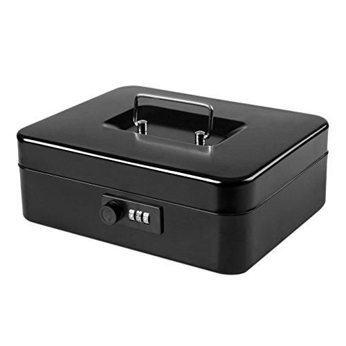 Jssmst Cash Box with Combination Lock (Medium Size 10''x7'') – Durable Metal Cash Box with Money Tray, Black, CB0701L