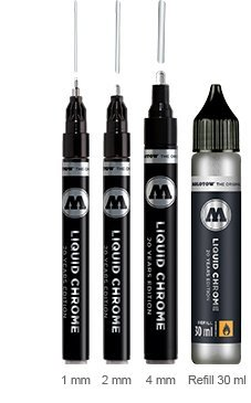 Molotow Liquid Chrome Pack - 3x markers plus a 30ml refill by MOLOTOW
