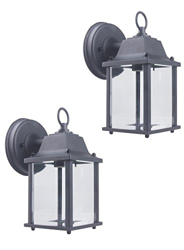 CORAMDEO Outdoor Wall Lantern, Wall Sconce as Porch Light Fixture with One E26 Base, Outdoor Rated, Black Powder Coat Finish, Aluminum Housing Plus Glass, 2-Pack