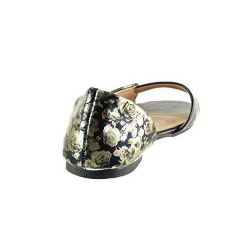 Angkorly - Zapatillas de Moda Sandalias abierto sexy mujer flores tanga Hebilla Talón Tacón ancho 1 CM - Negro