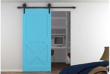 diyhd interior negro acero rueda puerta corredera de madera granero puerta Hardware puerta corrediza de granero madera Hardware Softclose pista Kit: Amazon.es: Bricolaje y herramientas