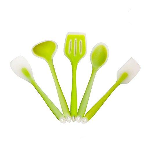 5 Piece Silicone Kitchen Utensil Set, Sunvook Non-Stick & Heat Resistant Cooking Utensil Kitchen (Green Utensil)