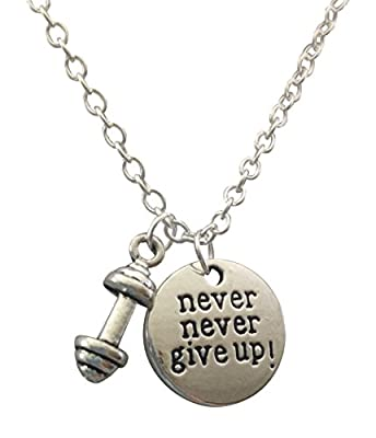 "Dumbbell Necklace ""Never Never Give Up!"", Barbell necklace , Fitness Jewelry, Necklace, Bodybuilding"