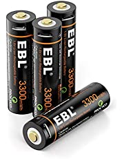 EBL USB Rechargeable AA Lithium Batteries(4 Pack) - 1.5V 3300mWh Long Lasting Rechargeable Double A Li-ion Batteries Quick Charge in 2 Hours with Micro Charging Cable