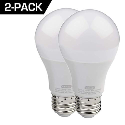 Genie LED Garage Door Opener Bulbs (2-Pack) / 60 Watt Equivalent (800 Lumens) - Made to Minimize Interference with Garage Door Openers (Compatible with All Major Garage Door Opener Brands) - 2 Pack (Low Clearance Garage Doors)