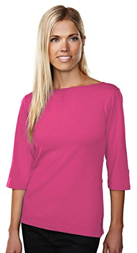 Tri-Mountain 139 Cypress Knit Top - FUCHSIA - L (Knit Boat Tee Neck)