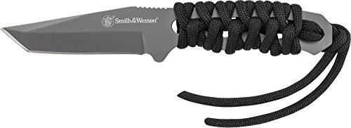 (Smith & Wesson SW910TAM 5.9in High Carbon S.S. Full Tang Neck Knife with a 2.8in Tanto Blade and Paracord Handle for Outdoor, Tactical, Survival and EDC)