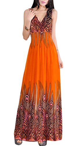 VSVO Women's Peacock Maxi Long Beach V Neck Dresses (Adult, Orange)