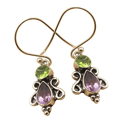 925 Sterling Silver Plated Jewelry, Real PERIDOT & AMETHYST Vintage Style Earrings Factory Direct