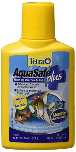 Tetra AquaSafe Plus Water Conditioner/Dechlorinator, 1.69-Ounce