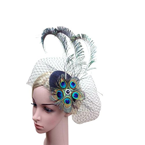 Bobury Femmes Paon Eye Paon Plume Style Bride Voile Chapeau Prom Party Coiffe