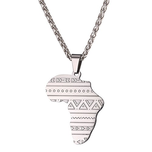 U7 Africa Map Pendant Stainless Steel Chain Vintage Ethnic Symbol Pattern African Necklace Hip Hop Jewelry for Men Women